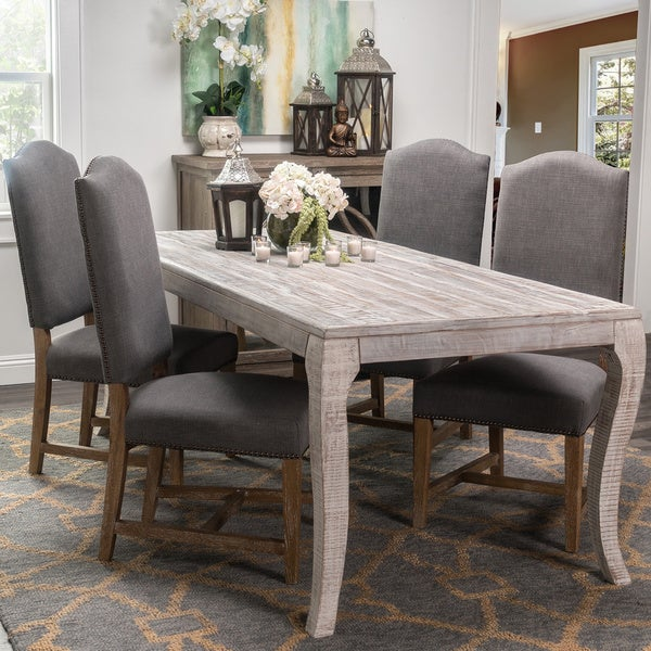 Cosmo Rustic Wood Antique White 80-inch Dining Table by Kosas Home