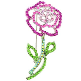 Silvertone Pink and Green Crystal Rose Flower Brooch