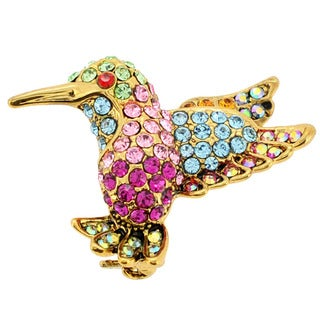 Goldtone Multi-colored Crystal Hummingbird Brooch