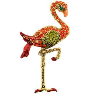 Crystal Flamingo Brooch Pin