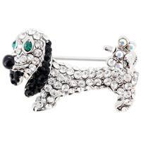 Crystal Dachshund Dog Brooch Pin