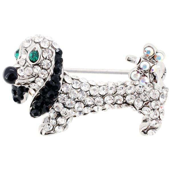 Crystal Dachshund Dog Brooch Pin
