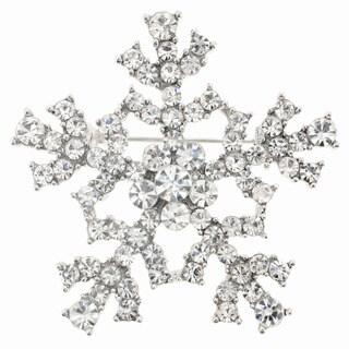 Austrian Crystal Silver Snowflake Brooch Pin