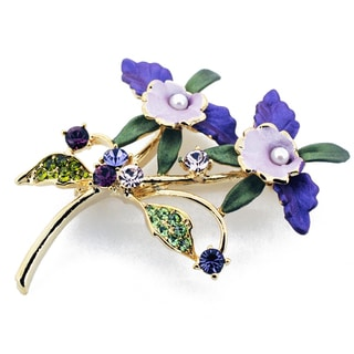 Purple Orchid  Crystal Brooch