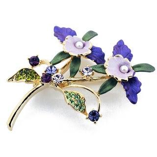 Purple Orchid  Crystal Brooch