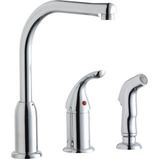 Elkay Everyday Kitchen Deck Mount Faucet with Remote Lever Handle and Side Spray Chrome - 2-1/4 x 9-3/4 x 11-1/2