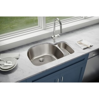 "Elkay Lustertone Classic Stainless Steel 31-1/2"" x 21-1/8"" x 10"", Offset 70/30 Double Bowl Undermount Sink"