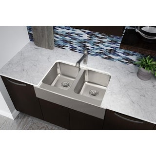 "Elkay Lustertone Classic Stainless Steel 33"" x 20-1/2"" x 7-7/8"", Equal Double Bowl Farmhouse Sink"
