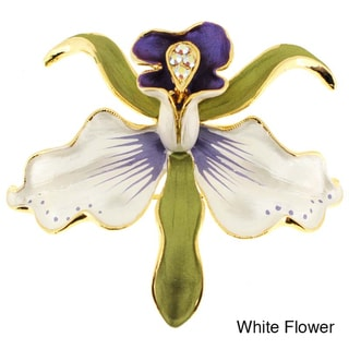 Antique Orchid Flower Crystal Pin Brooch