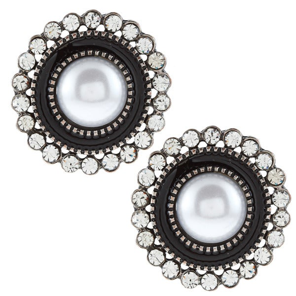 Black & White Rhodium Plated Classic Faux Pearl Studs