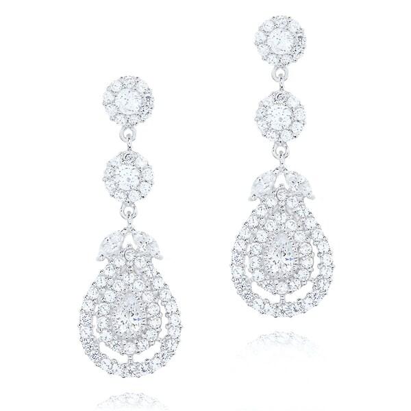 Blue Box Jewels Rhodiumplated Silver Cubic Zirconia Chandelier Earrings