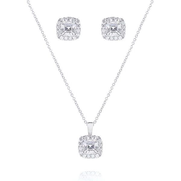 Sterling Silver Asscher-cut Cubic Zirconia Halo Jewelry Set