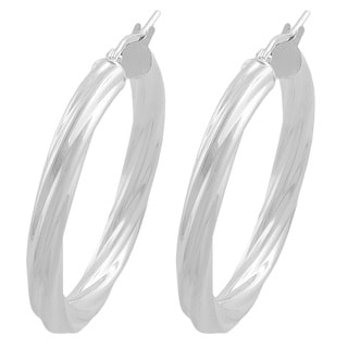 Fremada Sterling Silver 4-mm Round Twisted Hoop Earrings