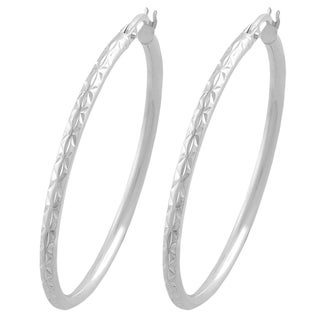 Fremada Sterling Silver 2mm Round Diamond Cut Hoop Earrings