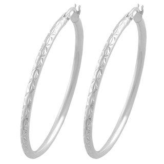 Fremada Sterling Silver 2mm Round Diamond Cut Hoop Earrings