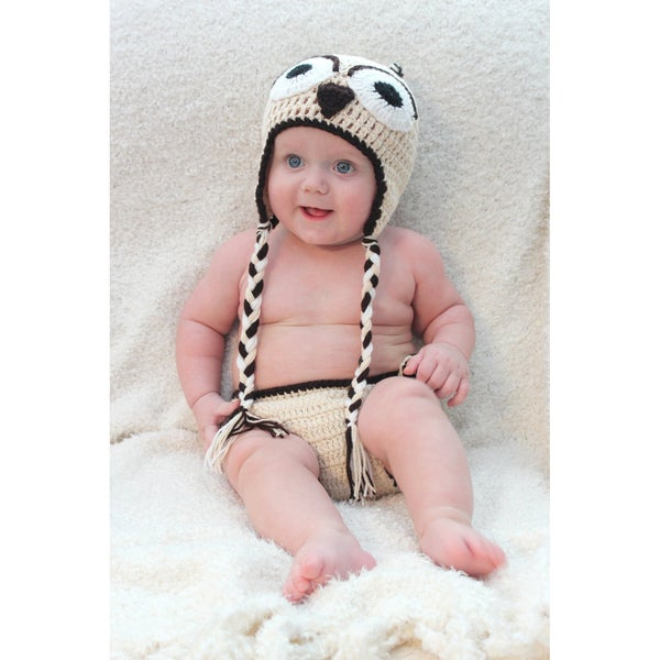 Sugarbaby Nest Owl Crocheted Beanie and Diaper Set