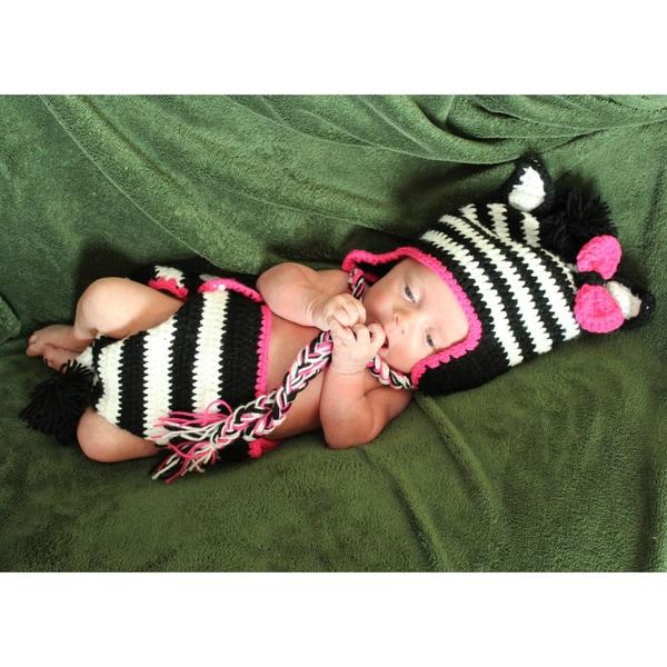 Girl's Baby Zebra Zeb Crocheted Beanie and Diaper Set