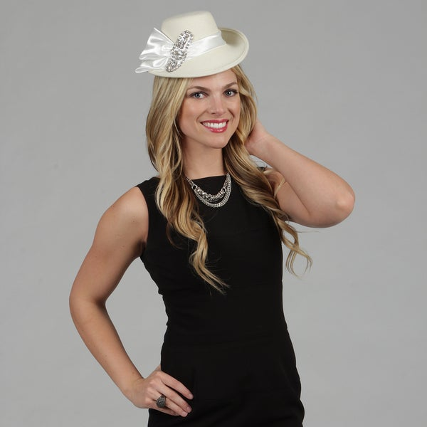 Swan Women's White Wool Blend Fascinator with Crystal Rhinestone Pin