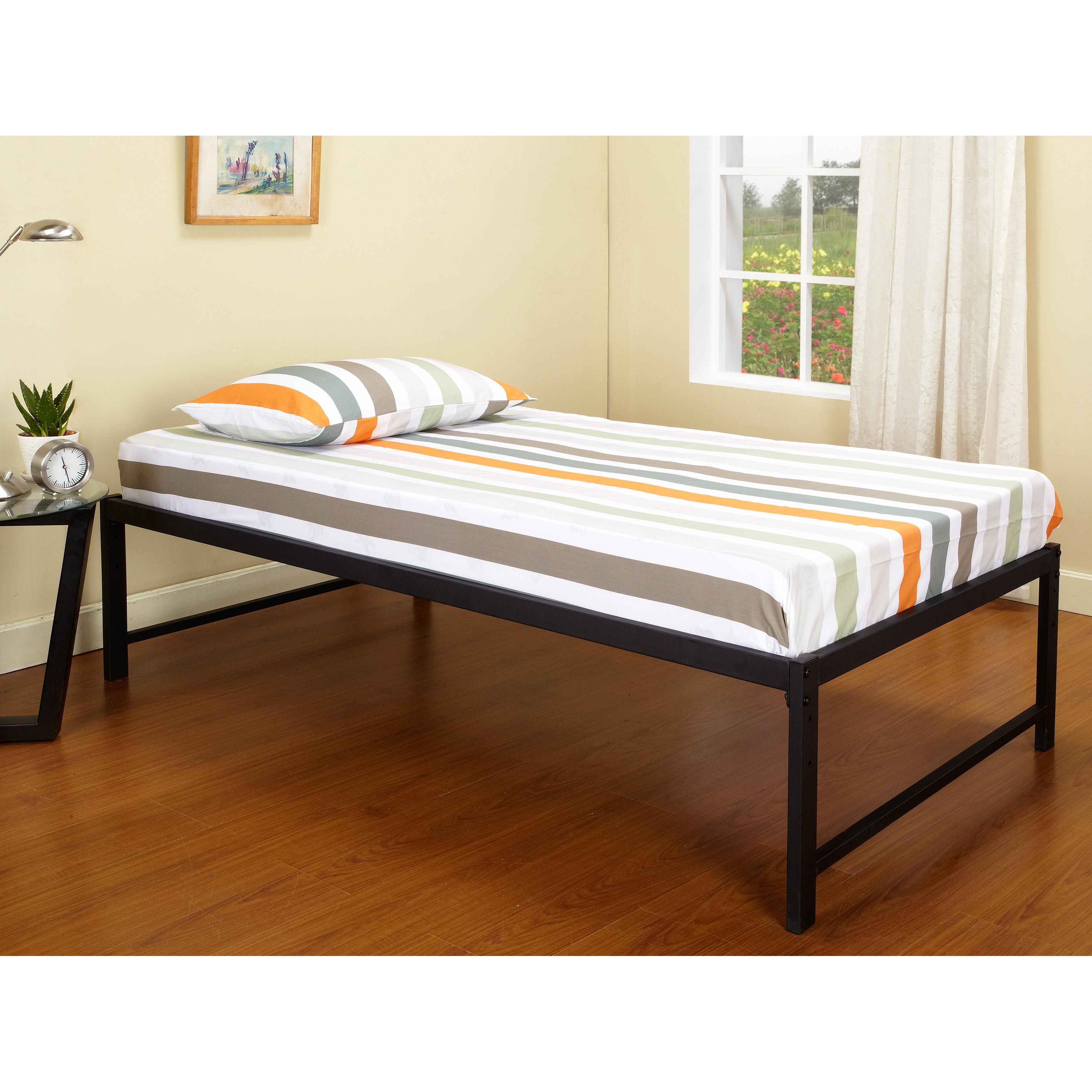 K&B B39-1-2 Hi Riser Bed with Black Metal Frame, Size Twin