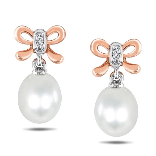 M by Miadora Sterling Silver Pearl and Diamond Bow Earrings