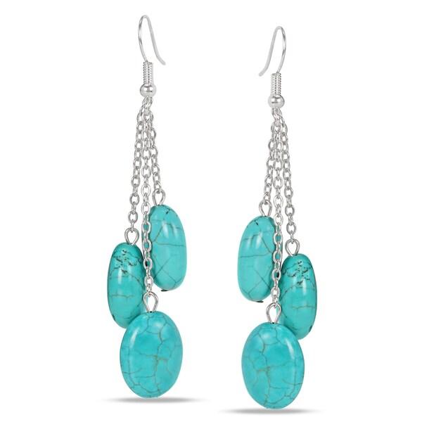 Miadora Silvertone Created Turquoise Drop Earrings