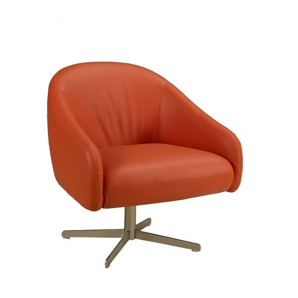 Dawsonville Orange Leather Club Chair