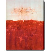 Red Forest' Abstract Oil on Canvas Art - Multi