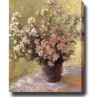 Claude Monet 'Vase of Flowers' Oil on Canvas Art