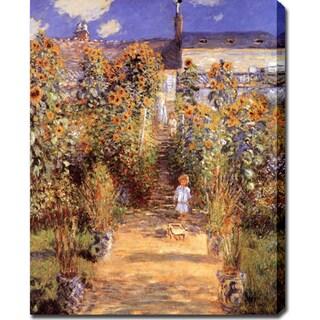 Claude Monet 'The Garden at Vetheuil' Oil on Canvas Art