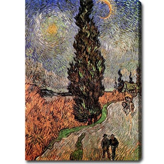 Vincent van Gogh 'Road with Cypress and Star' Oil on Canvas Art