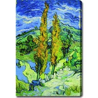 Vincent van Gogh 'Poplars at St. Remy' Oil on Canvas Art - Multi