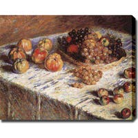 Claude Monet 'Still Life of Apples and Grapes' Oil on Canvas Art - Multi