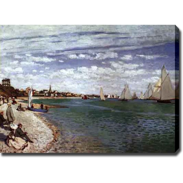 Claude Monet 'The Regatta at Saint-Adresse' Oil on Canvas Art