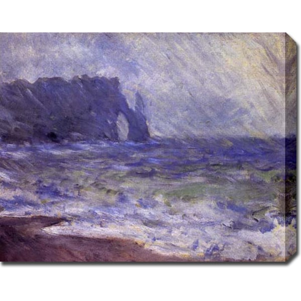 Claude Monet 'Rain at Etretat' Gallery-wrapped Canvas Art