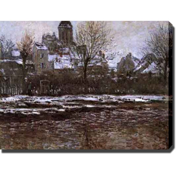 Claude Monet 'Church at Vetheuil with Snow' Gallery-wrapped Canvas Art - Multi