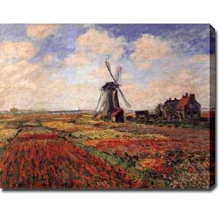 Claude Monet 'Tulip Fields with the Rijnsburg Windmill' Oil on Canvas Art