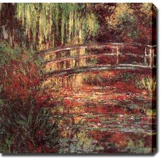 Claude Monet 'Water Lily Pond, Harmonie Rose' Oil on Canvas Art