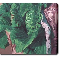 'Green Leaves' Abstract Oil on Canvas Art - Multi