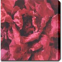 'Red Flowers' Abstract Oil on Gallery-Wrapped Canvas Art