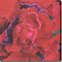 'Red Flowers' Abstract Oil on Canvas Art