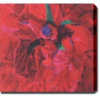Contemporary 'Red Flowers' Abstract Oil on Canvas Art - Multi
