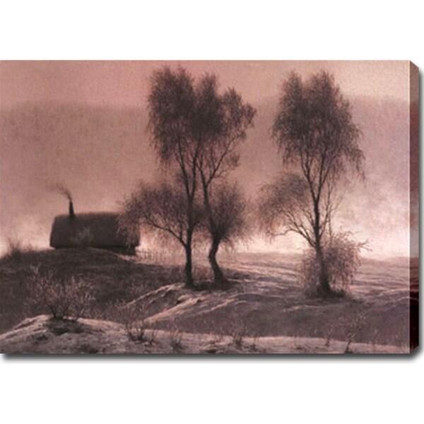 'Winter Village' Oil on Canvas Art
