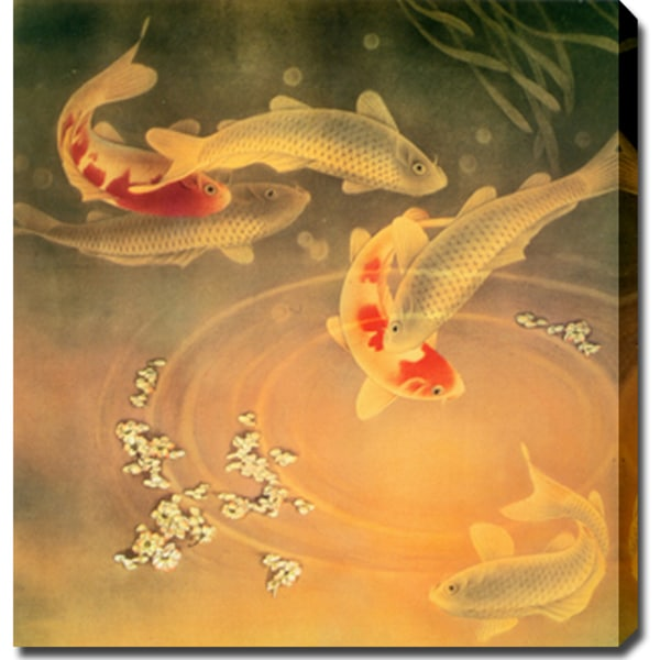 39 koi fish 39 oil on canvas art free shipping today for Koi fish canvas art