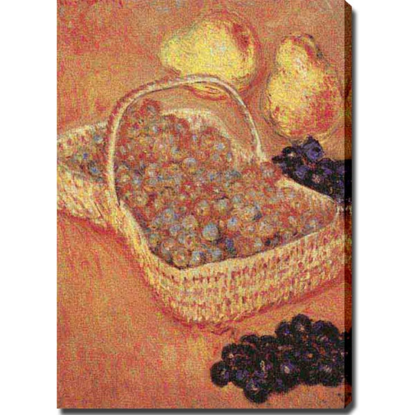 Claude Monet 'Basket of Grapes, Quinces, and Pears' Oil on Canvas Art
