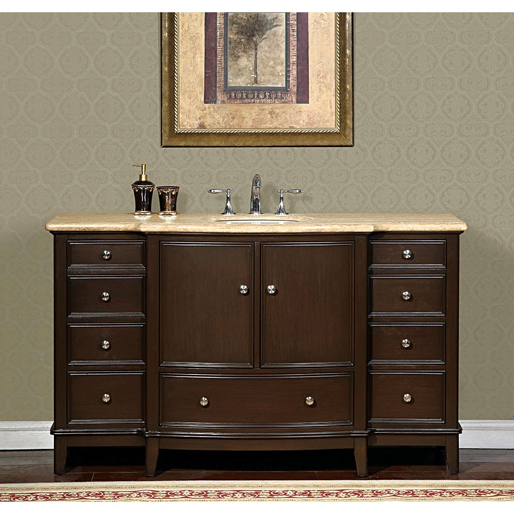 Shop Silkroad Travertine Stone Top 60 Inch Dark Walnut Bathroom
