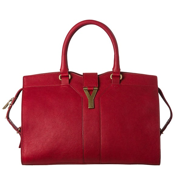 Yves Saint Laurent 'Cabas ChYc ' Red Leather Tote Bag