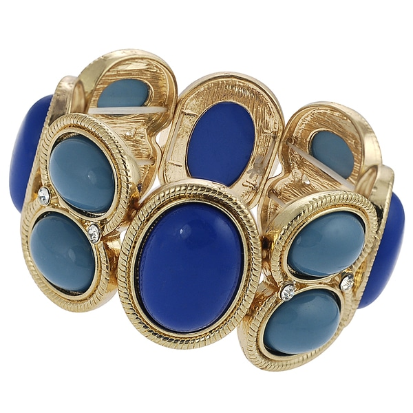 Journee Collection Goldtone Rhinestone Acrylic Stretch Bracelet