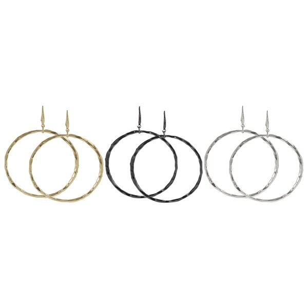 Journee Collection Plated 70-mm Hoop Dangle Earrings