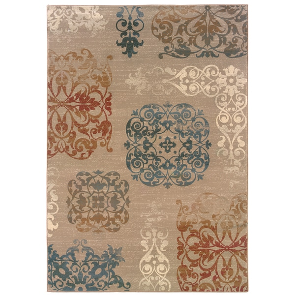 Somette Arabesque Filigree Copper Area Rug (9' x 12'2)