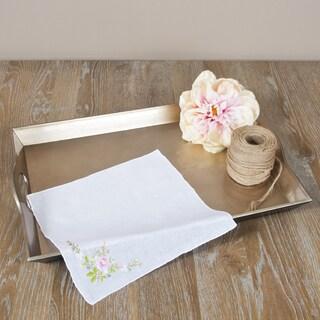 Saro Rose Design Embroidered Handkerchiefs (Set of 12)